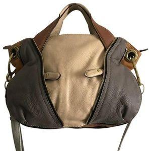 ORYANY Large Beige/Brown/Grey Leather Crossbody Ba